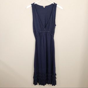 J Crew Soft Navy Dress W/Ruffle Bottom Sz S